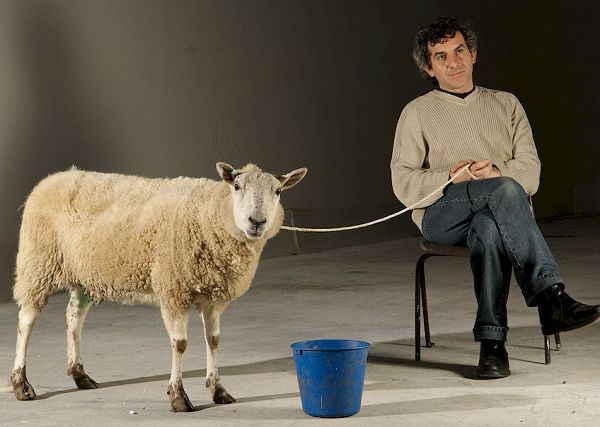 David on set with ovine movie star