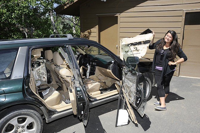 Bear damage to car. Photo: Matt Stensland, Steamboat Today