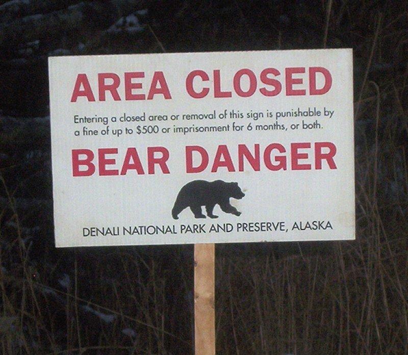 Bear danger sign, Denali National Park Alaska. Photo: Beeblebrox Wikipedia