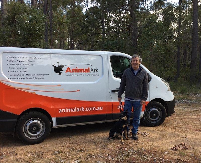 David Manning snake avoidance training for dogs in Nannup. Photo: Animal Ark