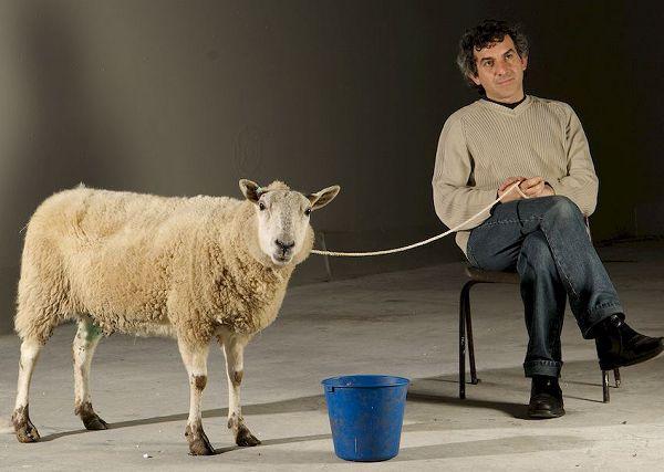 David on set with ovine movie star