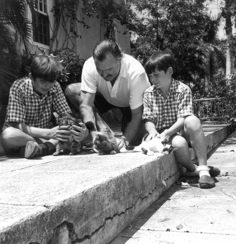 Ernest Hemingway with sons Patrick and Gregory with kittens in Finca Vigia, Cuba. Photo: Ernest Hemingway Photograph Collection, John F Kennedy Presidential Library Wikimedia Commons