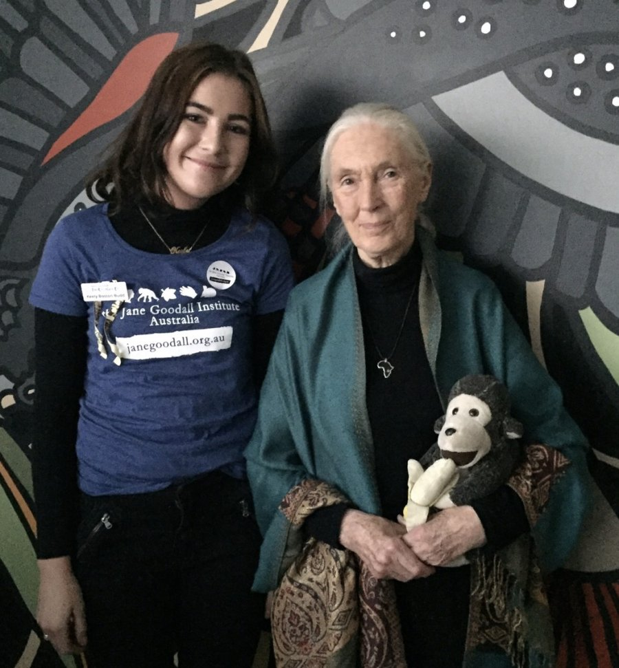 Keely and Jane Goodall, 2017. Photo: Keely Boston-Budd