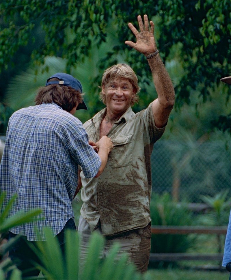 The late Crocodile Hunter, Steve Irwin after playing with Dingos. Photo: Bernard Dupont Wikimedia Commons